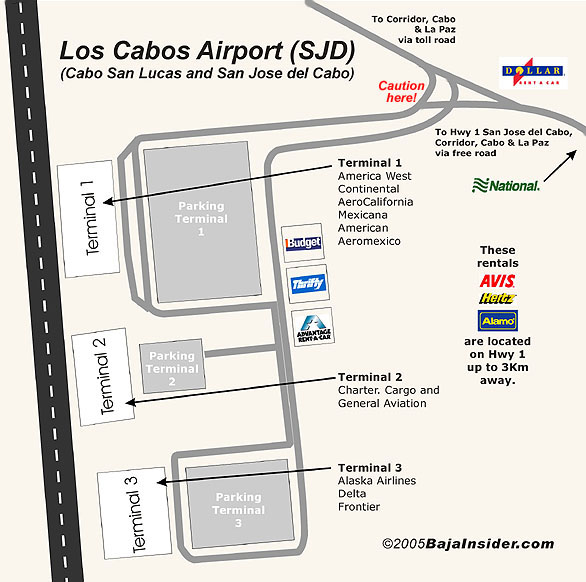 Los Cabos Mexico Airport Map Terminal Information Airlines location